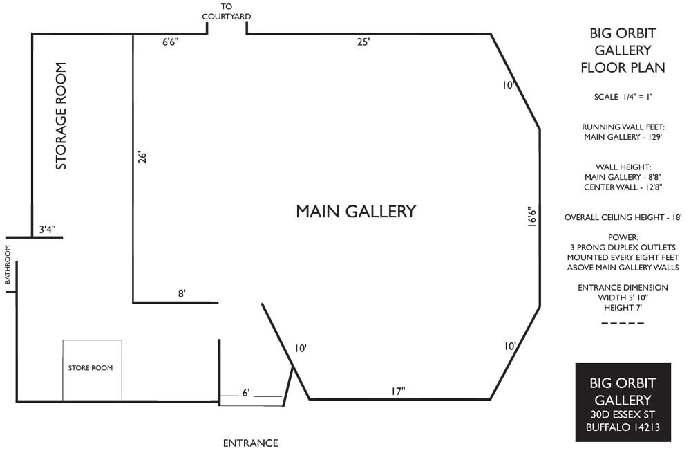 Big Orbit Project Space - Floor Plan - CEPA Gallery - Buffalo NY