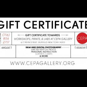 Gift Certificates - CEPA Gallery - Buffalo NY